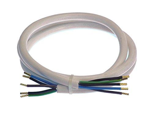 as - Schwabe Herd-Anschlussleitung – 1,5 m Kunststoffmantelleitung mit beidseitigen 50 mm abgemantelt mit Adernhülsen – Leitung 400 V, 16 A für den Innenbereich – IP20 – Weiß I 70867, 230 V
