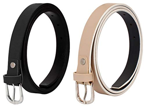 SIDEWOK Women's Vegan Leather Belt (Pack of 2)