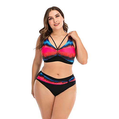 LANSKIRT Mujer Trajes de Baño para Gorditas Bañadores Sexy de 2 Piezas con Costuras de Color Elegante Bikini Mujer Tallas Grande 2020 Verano Ropa de Playa L-4XL