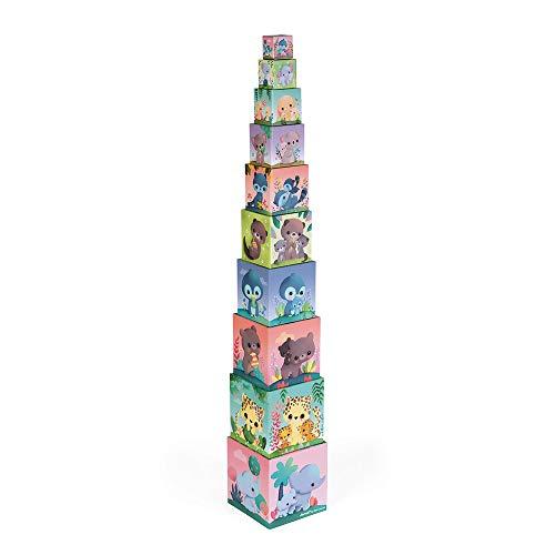 Janod- Pirámide Cuadrada de Animales adorables estímulo para bebés-Juguete para apilar y Encajar Aprender Las nociones de tamaño y los números-A Partir de 1año (JURATOYS J02652)