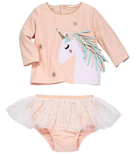Mud Pie Girls' Unicorn Rash Guard Set, Pink, 9-12 (Infant)