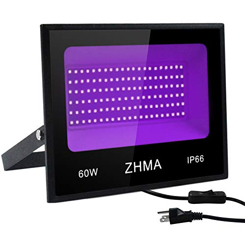 ZHMA 60W LED Black Light Flood Light with Plug,Black Light for Indoor and Outdoor Blacklight Party,Body Paints Fluorescent Effect,Glow in The Dark,Stage Light,Aquariums and Other Entertainment Venue