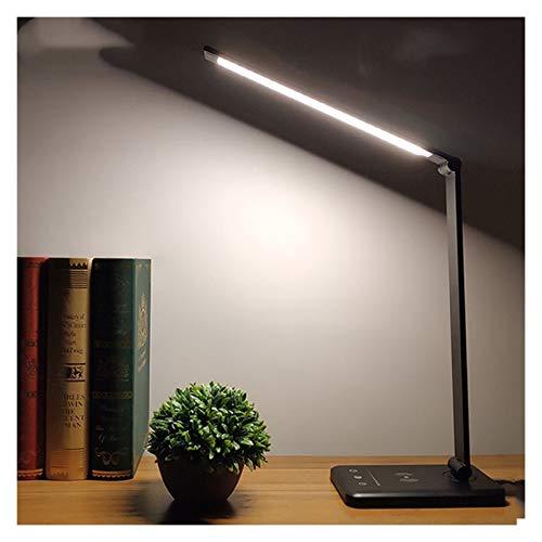 Lámpara de escritorio LED de 52 piezas, 5 colores, regulable, táctil, recargable, USB, con temporizador, luz nocturna (color: plata)