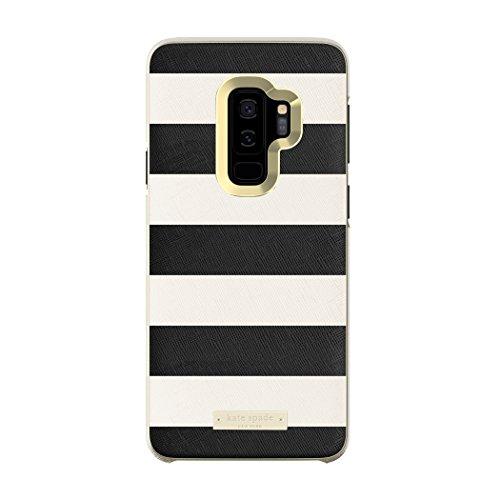Kate Spade New York Wrap Case Schutzhülle für Samsung Galaxy S9+, Saffiano Schwarz/Weiß gestreift/Gold-Logo