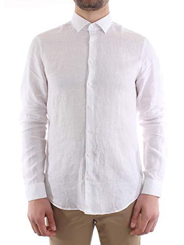 Chemise blanche avec col classique en lin, 44, blanc