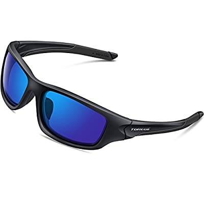 TOREGE Polarized Sports Sunglasses for Cycling Running Fishing Golf TR90 Unbreakable Frame TR011 (Black&Blue)