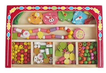 Kids Childrens Wooden Lacing Beads Set Toy in Storage Box by Babyhugs - Red