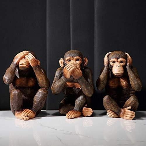 Jacksonville Mall SALENEW very popular Animals Orangutan Decoration Retro Three Wise Monkeys Statue Gor