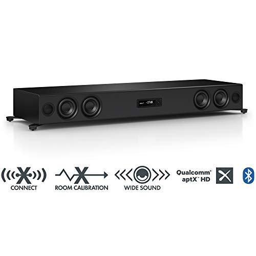 Nubert nuPro XS-7500 Soundbar | TV-Lautsprecher mit Bluetooth aptX HD | Soundbase für klare Stimmen | Stereoboard mit 3.5 Wege Technik | aktive Soundplate für HiFi & Musikgenuss| Sounddeck Schwarz