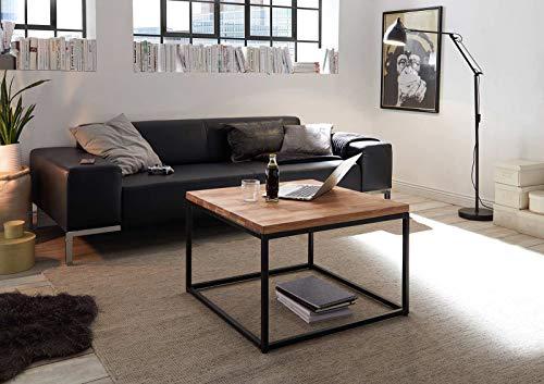 lifestyle4living Couchtisch in Asteiche massiv - moderner Wohnzimmertisch, Metallrahmen - schwarz lackiert