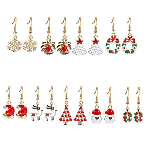 FRTUI Pendientes de Navidad para Mujer Conjunto de Joyas Gils Copo de Nieve MuuEco de Nieve Alces Gorro de Navidad Pendiente de Arbol Regalo 9 Pares