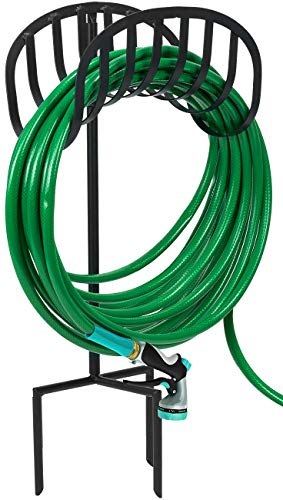 Sorbus Manger Garden Hose Holder Stand, Great for Garden, Lawn, Yard, Decorative Water Hose Storage with Ground Stakes, Holds 125-Feet of 5/8-Inch Hose