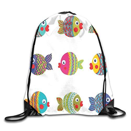 Drawstring Gym Bag Backpack,Boho Ethnic Featured Ornate Fishes Gills Under The Sea Childish Kids Nursery Theme,Rucksack for School Sports Travel Women Children Birthday Present
