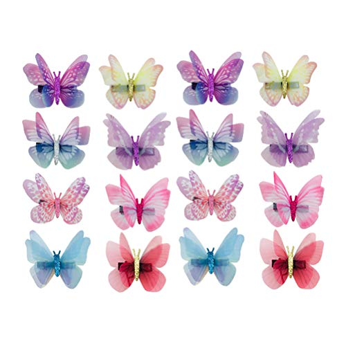 16 Pcs Bowknot Hair Bow Clips Bow Tie Double Layer Dreamlike Simulation Tulle Butterfly Shaped Barrettes Hairpins Hair Accessories for Kids Teens Part