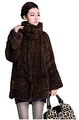 YR Lover Women's Winter Long Sleeve Knitted Real Mink Fur Coat with Pocket Coffee from