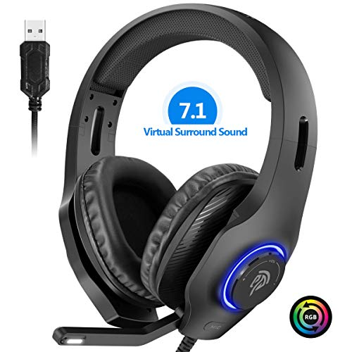 EasySMX PS4 Headset, Headset with Mic, [7.1 Surround Sound], [Noise Reduction Mic], On-Earcup Control, RGB LED Lights, Professional PC Gaming Headset, Gaming Headphones for PC, PS4, Laptop PC