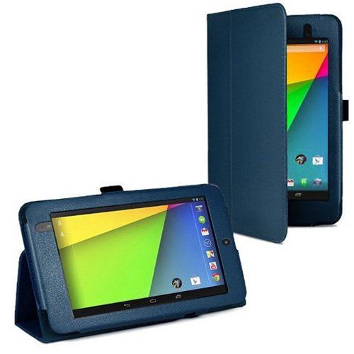 Nexus 7 (2nd Gen/2013) Case, BoxWave [Folio Stand Case] Synthetic Leather Cover with Viewing Stand for Google Nexus 7 (2nd Gen/2013) - Navy Blue