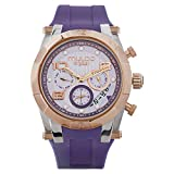 Mulco Watches for Women Kripton Lady, 42MM Case, Analog Quartz Watch, Rose Gold Watch Accent with Pearl Finish, Water Resistant, Silicone Band (Purple)