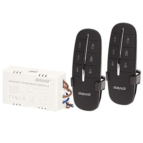 Orno GB-411 Lichtschalter Funkschalter Set mit 2 Fernbedienung bis zu 3 kanäle, 1000W, 230-250V.