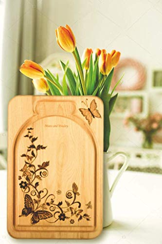 Wood Burned Cutting Board, Handmade Pyrography, Butterfly and Flowers Theme
