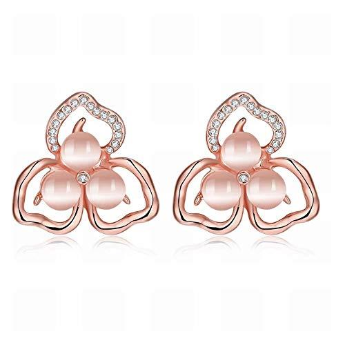 KAD Pendientes de Trébol Japoneses Y Coreanos para Mujer/Hipoalergénicos/Brillo Plateado/Diamante/Peque?os Exquisitos/Pendientes de Perlas/Cristal Transparente/Circo