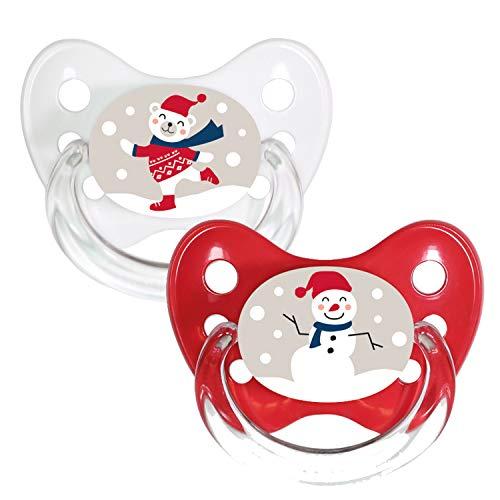 Dentistar® Silikon-Schnuller 2er Set mit Kappe - Größe 2, 6-14 Monate - Merry Christmas - zahnfreundlich und kiefergerecht - BPA frei - Bär + Schneemann