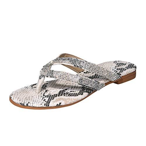 Amlaiworld Women's Sandals Flip Flops Ladies Crystal Beach Sliders Casual Slippers Shoes Beige