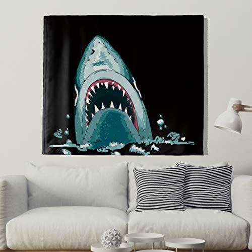 Ozean Meer Hai Tapisserie murale Motif poisson Shark 200x150cm Noir