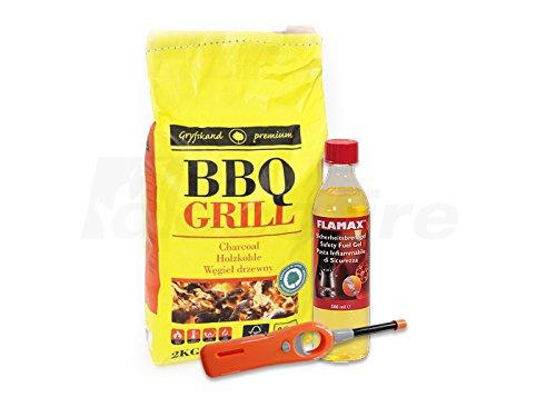 Tischgrill Starter-Pack - Grill-Zubehör-Set für den rauchfreien Holzkohlegrill - Holzkohle, Sicherheits-Brennpaste, Feuerzeug