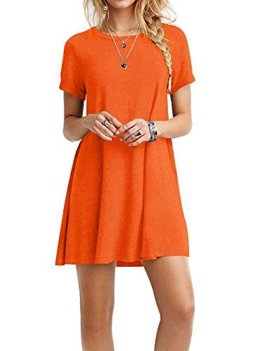 TINYHI Women's Swing Loose Short Sleeve Tshirt Fit Comfy Casual Flowy Tunic Cotton Dress Orange,As_orange,Medium