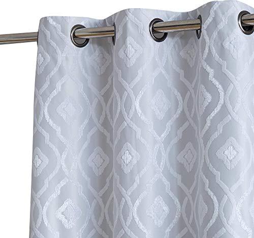 HLC.ME Trellis Decorative Winter Thermal Insulated 100% Complete Full Blackout Energy Savings Floor Length Window Curtain Drapery Grommet Panels for Living Room, Set of 2 (37 x 84 Long, White)