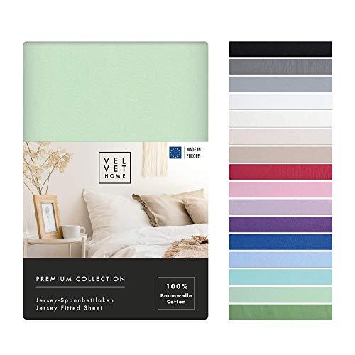 Lenzuolo con angoli elasticizzati, 120 x 200 cm, 165 g/m², lenzuolo 120 x 200 cm, cotone con elastico – di alta qualità / lenzuolo in jersey con bellissimi colori (verde chiaro, 120 x 200 + 30)