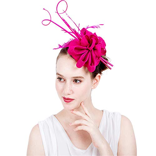 Wenzhihua Élégant Cocktail Tea Party Royal Ascot Chapeau Fascinator Chapeau Plume De Mariée Pince À Cheveux Accessoires Chapeaux de Mariage pour Les Femmes (Couleur : Bleu)