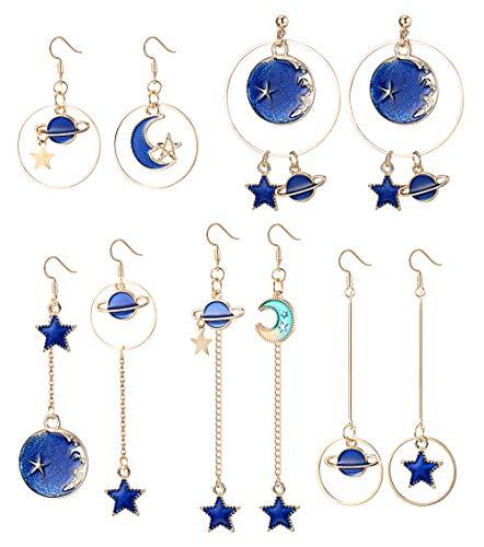 YADOCA 5 Paia Orecchini Asimmetrici Pendente per Donna Ragazze Orecchino Stella Luna Orecchini Blu Gioielli