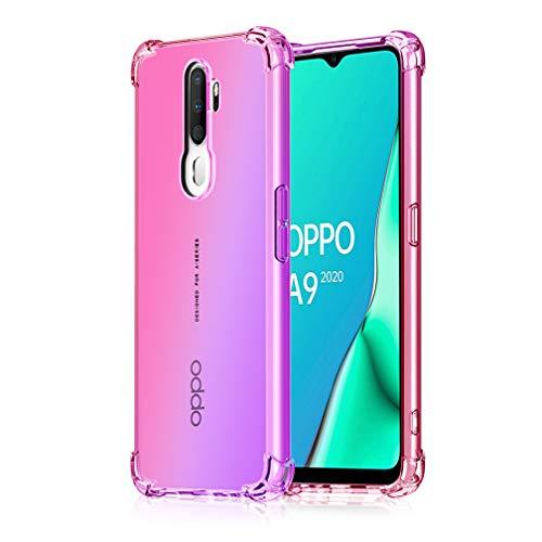 HAOYE Hülle für Oppo A9 2020 Hülle, Farbverlauf-TPU Handyhülle, [Vier Ecken Verstärken] Weiche Transparent Silikon Soft TPU Case Schock-Absorption Durchsichtig Schutzhülle (Pink/Lila)