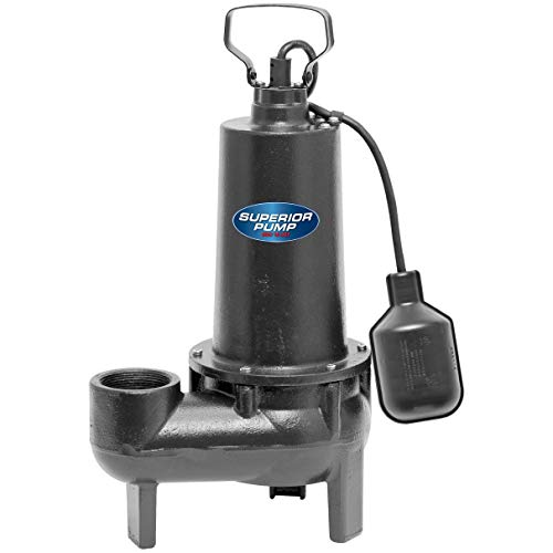 Superior Pump 93501 1/2 HP Cast Iron Sewage Pump with Tethered...