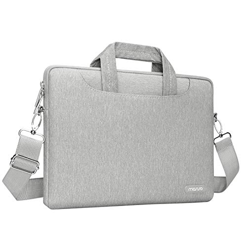 MOSISO Laptop Shoulder Messenger Bag Compatible with MacBook Pro 16 inch A2141/Pro Retina A1398, 15-15.6 inch Notebook, Polyester Briefcase Sleeve with Back Zipper Pocket&Trolley Belt, Gray