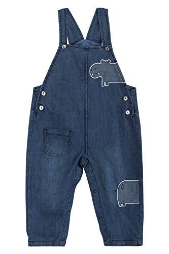Baby Jungen Mädchen Jeans Latzhose Strampler Overall Weiche Baumwolle Denim Hose Dünn für Frühling Sommer Cartoon Nilpferd Größe 74/80