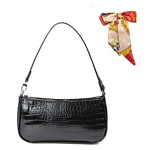 Retro Umhängetasche Bag,90s Umhängetasche Damen mit schickem Krokoprägung-Druck Crossbody Tasche,Damen Schultertasche,Frau Vintage Shoulder Crossbody Handtasche (Schwarz)