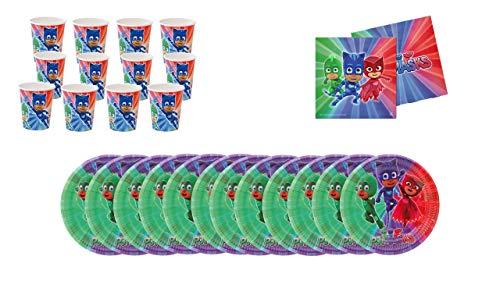 PJ Masks 0441, Pack Plus Fiesta y cumpleaños, Compuesto por 16 Vasos, 16 Platos y 20 servilletas de Papel