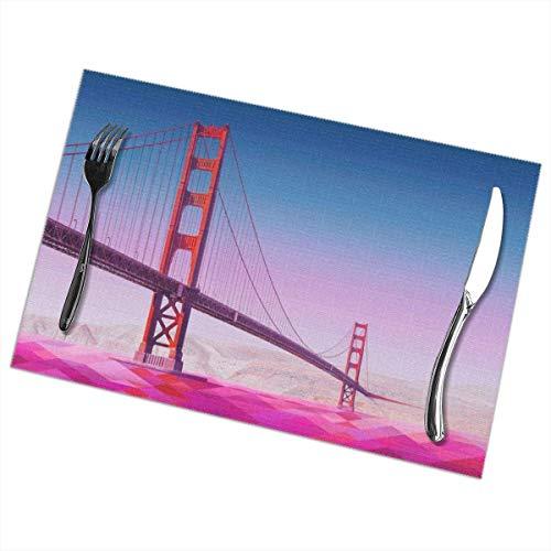 AEMAPE Manteles Individuales Golden Gate Bridge - Aislamiento térmico Resistentes a Las Manchas, Antideslizantes, Lavables, para Comedor, Cocina, Restaurante, Juego de Mesa o 6.12 x 18 Pulgadas