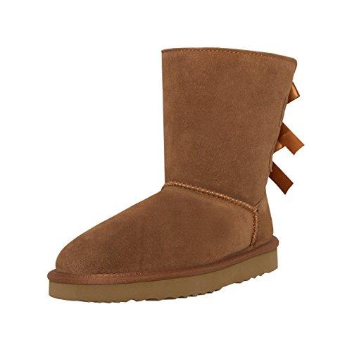SKUTARI Playful Double Bow Boots, handgefertigte italienische Lederstiefel für Damen mit gemütlichem Kunstfellfutter, Rutschfester und Gepolsterter Sohle, Camel, 39 EU