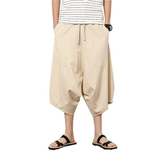YuanDian Herren Sommer Casual Niedriger Schritt Harem Capri Hose Baggy Baumwolle Leinen Elastische Taille Kordelzug Einfarbig Sarouel Aladin Goa Pluder Pump Hippie Hosen Beige 3XL