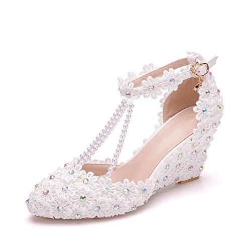 AORISSE Zapatos De Novia para Mujer, Zapatos De Boda De Encaje con...