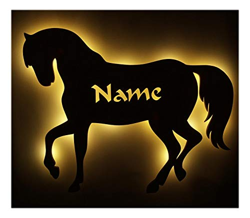 Schlummerlicht24 3d Led Pferd mit Namen personalisiert, ein Elektronik Holz Wand-Tattoo Geschenk für das Mädchen Baby Erwachsene Freundin Frauen Frau im Kinderzimmer Schlafzimmer-Beleuchtung