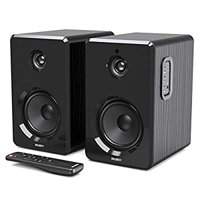 MAJORITY D40 Amplifier Speakers | Active Bluetooth Bookshelf speakers with USB playback | Classic Black with multi-connection from Majority