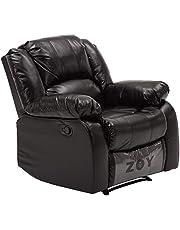 ZOY Leather/Cotton/Plywood Bear Recliner, R9393B-51 H048, Black, H97 x W94 x D99 cm