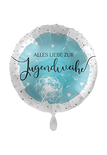 1 Folienballon Alles Liebe zur Jugendweihe weiß hellblau ca 43 cm ungefüllt Ballongas geeignet