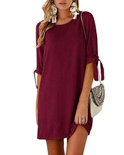 Kidsform Sommerkleid Damen Casual Langes T-Shirt Kleid Lose Tunika Kurzarm Rundhals Minikleid mit Bowknot Ärmeln, XL=EU42,  Weinrot