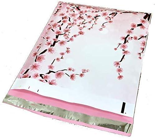10x13 - Gifts Pink Cherry Blossom Mailers Printed Designer Sakura Poly Superlatite